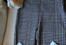 (36) Firmowe legginsy biznesowe w pepitkę z Londynu, spodnie rurki/ jak NOWE