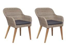 vidaXL Krzesła ogrodowe z poduszkami, 2 szt., polirattan, brązowe 44156
