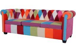 vidaXL Trzyosobowa sofa materiałowa Chesterfield243181
