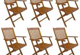 vidaXL Składane krzesła ogrodowe, 6 szt., lite drewno akacjowe 276357