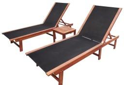 vidaXL Leżaki ze stolikiem, 2 szt., lite drewno akacjowe i textilene273752