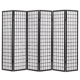 vidaXL Składany prawan 6-panelowy w stylu japońskim, 240x170, czarny 245900