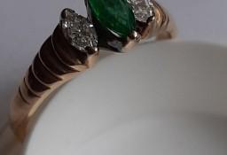 Pierścionek Damski Złoto 585 Szmaragd i Diament (Brylant)