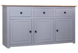 vidaXL Szafka, szara, 135x40x80 cm, lite drewno sosnowe, seria Panama 282704