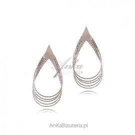 Duże kolczyki srebrne diamentowane