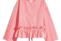 Nowa bluzka koszula H&M 46 XXXL 3XL biało czerwona paski paseczki baskinka