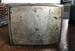 Stara zdobiona papierośnica srebrna Antyk