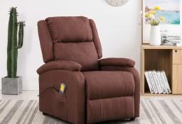 vidaXL Rozkładany fotel masujący, brązowy, tkanina248700