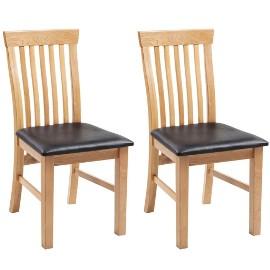 vidaXL Krzesła stołowe, 2 szt., lite drewno dębowe i sztuczna skóra 243546