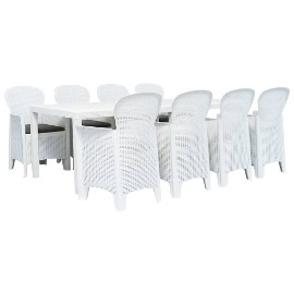 vidaXL 9-częściowy zestaw mebli ogrodowych z plastiku, biały 276134