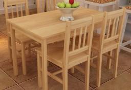 Drewniany zestaw jadalniany stół z 4 krzesłami, naturalny 241220