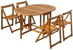 vidaXL 5-cz. zestaw składanych mebli ogrodowych, lite drewno akacjowe 45594