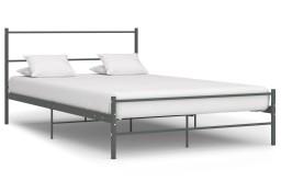 vidaXL Rama łóżka, szara, metalowa, 160 x 200 cm 286495