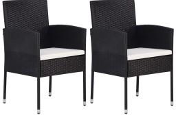 vidaXL Krzesła ogrodowe, 2 szt., polirattan, czarne 43933