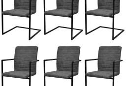 vidaXL Krzesła stołowe, wspornikowe, 6 szt., szare, sztuczna skóra272418
