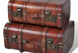 vidaXL Drewniane kufry vintage, brązowe, 2 szt. 240575