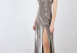 Ekskluzywna sukienka w kolorze srebrnym na ramiączkach, Szycie na miarę De Marco