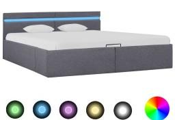 vidaXL Rama łóżka, podnośnik i LED, ciemnoszara, tkanina, 180 x 200 cm 285605