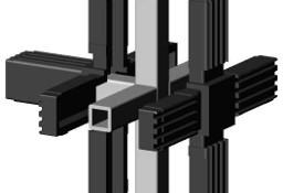 Łącznik plastikowy z rdzeniem met.do profili aluminiowych 20x20x1,5mm, typ FCM