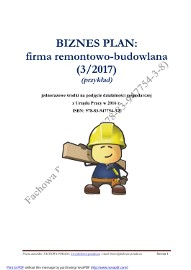 BIZNESPLAN firma remontowo-budowlana (przykład) 2016