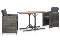 vidaXL 3-częściowy zestaw mebli bistro z poduszkami, rattan PE, szary46374