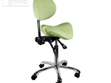 Krzesło siodłowe regulowane obrotowe zielone kosmetyczne-1