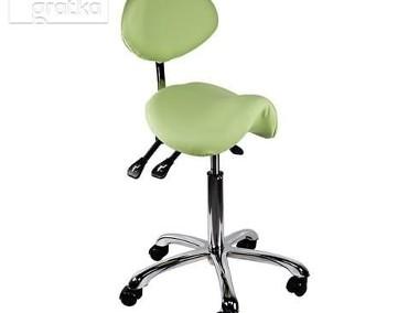 Krzesło siodłowe regulowane obrotowe zielone kosmetyczne-2