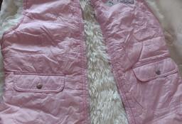 (152) Futrzana, różowa kamizelka zimowa, bezrękawnik z Londynu