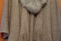 ZARA/Szaro-srebrne, asymetryczne ponczo, narzutka, kardigan, płaszcz, chusta/ One Size