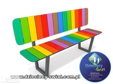 6033 ławka z oparciem kolorowa plac zabaw