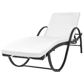 vidaXL Leżak ogrodowy z poduszką, polirattan, czarny 42884