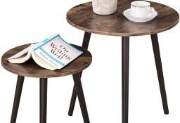 Zestaw 2 małych okrągłych stolików rustykalnych. Stolik kawowy 2 szt.