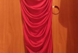(40/L) Czerwona, długa, marszczona sukienka wieczorowa na jedno ramię  z Londynu