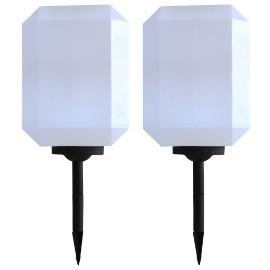 vidaXL Lampy solarne na zewnątrz, 2 szt., LED, 30 cm, białe 44464