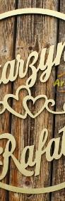 Duże koło z imionami pary młodej, dekoracje ślubne, weselne-4