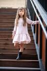 Wizytowa sukienka dla dziewczynki w kolorze delikatnego, pudrowego różu roz 134