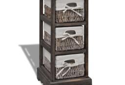 vidaXL Drewniana szafka z 3 koszykami, brązowa240799