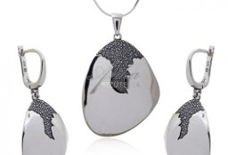 Piękny komplet biżuterii srebrny oksydowany BRAZYLIA