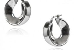 Oryginalne kolczyki srebrne szerokie kółka
