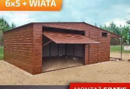 Garaż blaszany z boczną wiatą blaszak drewnopodobny dwuspadowy bramy uchylne