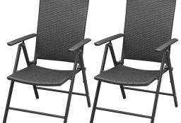 vidaXL Sztaplowane krzesła ogrodowe, 2 szt., polirattan, czarne 42796