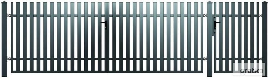 Brama dwuskrzydłowowa1,5x4m + furtka 1x1,5m S-03 oc+kolor