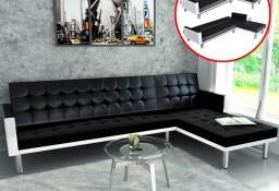 vidaXL Sofa narożna z funkcją rozkładania, sztuczna skóra, czarna244328