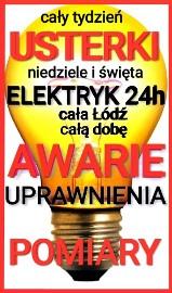 ELEKTRYK ŁÓDŹ 24h/7 AWARIE-UPRAWNIENIA
