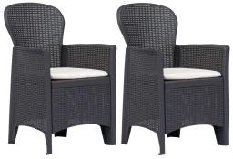 vidaXL Krzesła ogrodowe z poduszkami, 2 szt., brązowe, plastikowe 45600