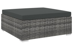 vidaXL Podnóżek modułowy z poduszką, 1 szt., polirattan, szary 46803