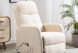 vidaXL Rozkładany fotel masujący, kremowy, tapicerowany tkaniną289835