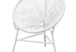 vidaXL Owalne krzesło ogrodowe, polirattan, białe 42072