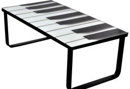 vidaXL Stolik kawowy z nadrukiem klawiatury pianina, szklany blat 241174