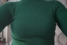 Nowy sweter golf S M ciemny zielony butelkowa zieleń elegancki żeberkowy